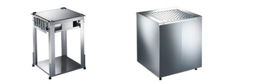 Installable basket dispenser, unheated or heatable